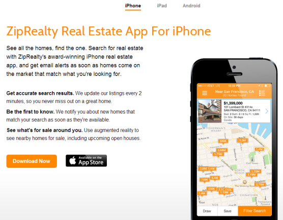 ZipRealty Mobile App Page