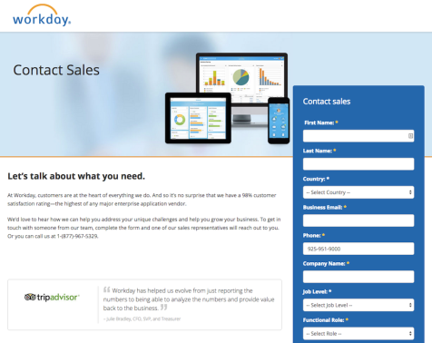 Workday - Optimization Copy Test for Contact Sales Form